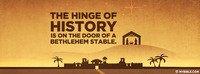 The hinge of history is on the door of a...