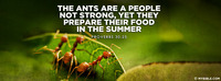 The ants are a people not strong, Yet they...